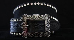 Wide Belt~Black Genuine Leather~Hair On Hide & Crystal~All sizes~BEAUTIFUL! NWT