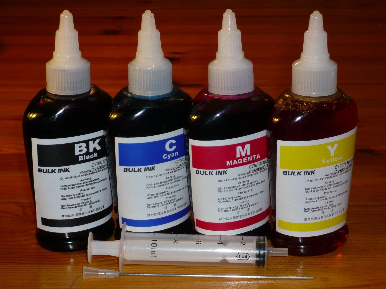 Bulk refill ink for EPSON, HP, BROTHER, CANON ink printer cartridge, 100ml x 4 bottles, total 400ml