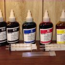 Bulk refill ink for HP ink printer, 100ml x 5 bottles (2 Black, 1C, 1M, 1Y)
