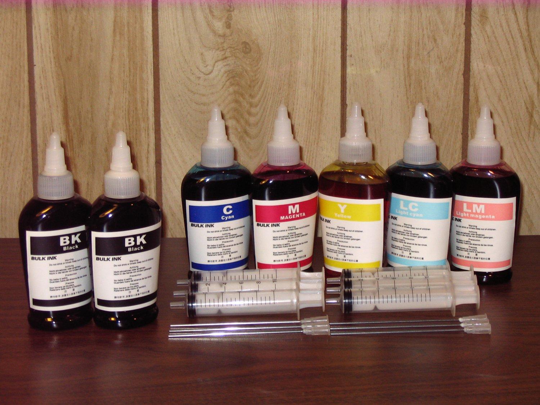 Bulk refill ink for HP ink printer , 100ml x 7 bottles (2BK, 1C, 1M, 1Y, 1LC, 1LM)