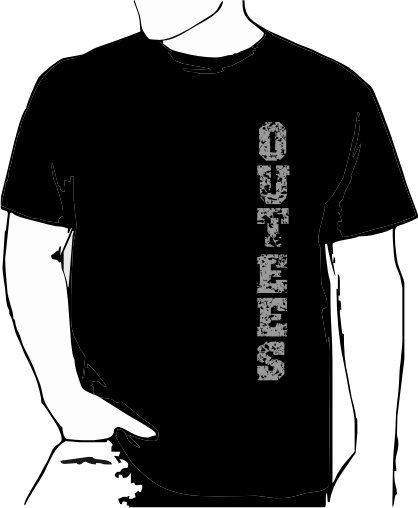 Black Outees S-XL Verticle Front Large Back Design Inside-Out