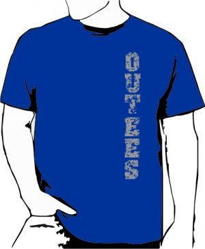 Blue Outees S-XL Verticle Front Large Back Design Inside-Out
