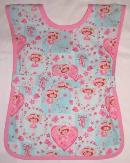 Handmade Girls School Paint Art Smock - Strawberry Shortcake Ballet Dancer