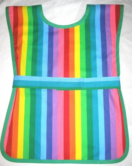 School Paint Smock -  Rainbow Stripe Handmade Childs Kids Art Craft Preschool Apronl