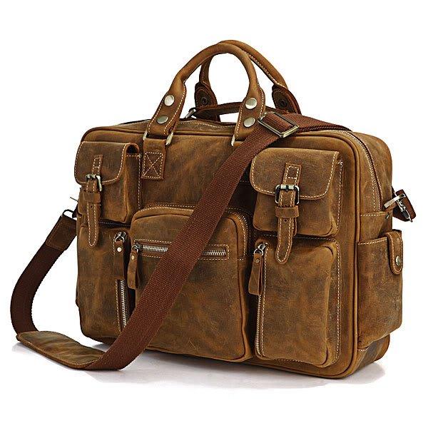 Rare Crazy Horse Leather Men's Briefcase Laptop Bag Dispatch Shoulder Huge Duffle