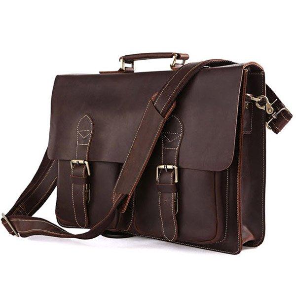 Rare Genuine Cow Leather Men's Briefcase Laptop Handbag Messenger Macbook Bag