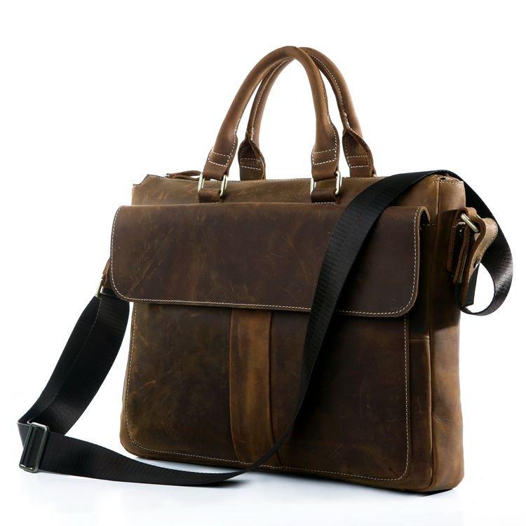 "Handmade Crazy Horse Leather Briefcase Messenger 14"" 15"" Laptop / 13"" 15"" MacBook Double Handles"