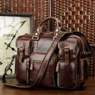 Rare Crazy Horse Leather Men's Briefcase Laptop Bag Dispatch Shoulder Huge Duffle in Red Wine