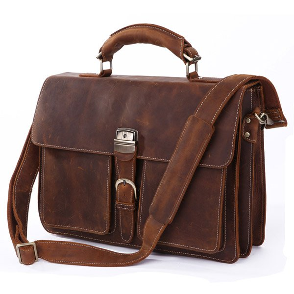 "Handmade Crazy Horse Leather Briefcase/Messenger/14"" 15"" Laptop 15"" MacBook Bag Business Tote"