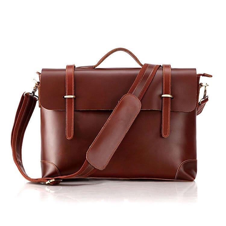 Genuine Cow Leather Briefcase Laptop Messenger Bag Ipad Macbook Bag in Red Brown
