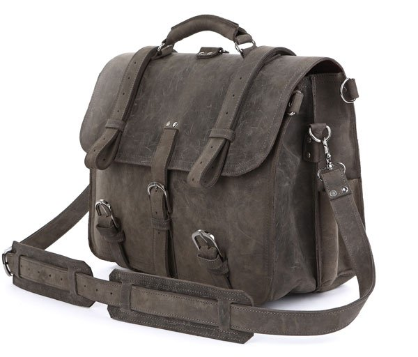 WOW ARROGANCE Gray Vintage Handmade Antique Crazy Horse Leather Briefcase Backpack Messenger bag