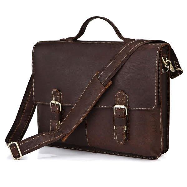 "Handmade Top Quality Crazy Horse Leather Briefcase Messenger Bag 14"" Laptop / 15"" MacBook Bag"