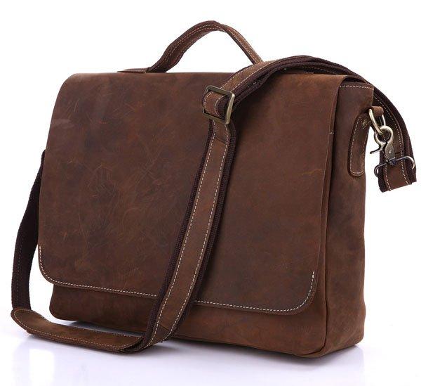 "Vintage Crazy Horse Leather Business Briefcase/Messenger/13"" 14"" 15"" Laptop 13"" 15"" MacBook Bag"