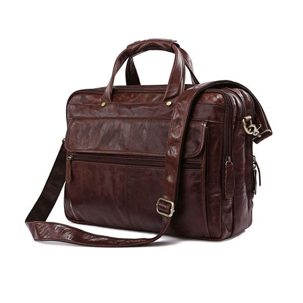 Genuine Cow Leather Men's Briefcase Handbag Messenger Bag Business Briefcase Tote Luggage Laptop Bag