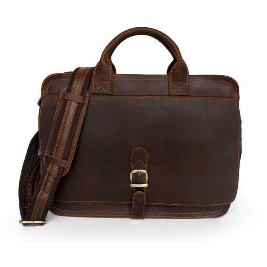 100% Handmade Crazy Horse Leather Briefcase Messenger Laptop Macbook Bag Dark Brown Color