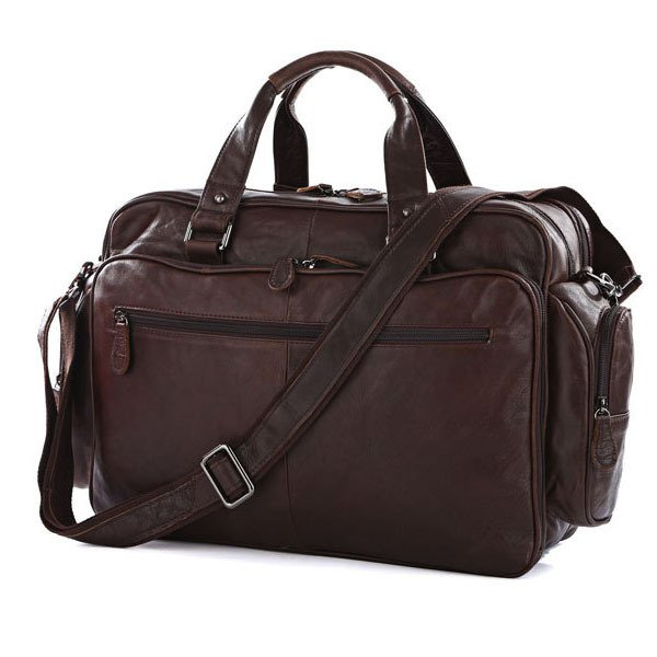 Large Volume Cowhide Leather Travel Bag Business Luggage Trip Baggage Briefcase in Chocolate