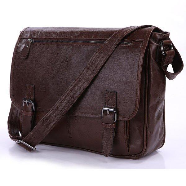 Italian Tan Leather Men's Classic Shoulder Bag Messenger Bag Briefcase School Bag