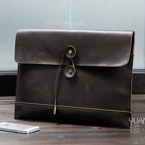 Business Men's Handmade Vintage 100% Genuine Leather Envelope Clutch Bag in Black