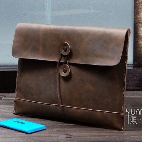 Business Men's Handmade Vintage 100% Genuine Leather Envelope Clutch Bag in Coffee