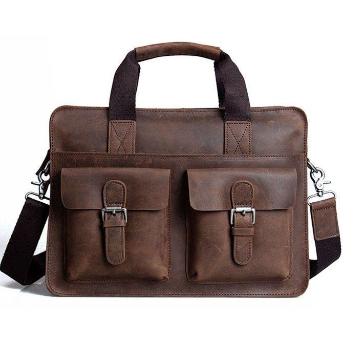 """Handmade Crazy Horse Leather Briefcase Messenger Shoulder Bag 13""""14"""" Laptop Macbook Ipad Bag"""