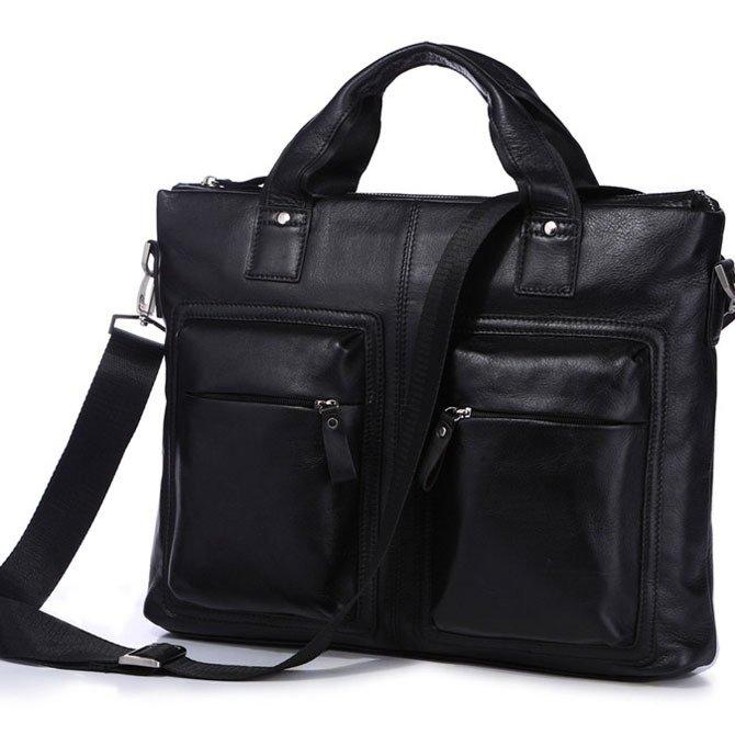 """Hot Selling Vintage Leather Men's Black Briefcase 15"""" Laptop Bag Messenger Handbag in Black"""