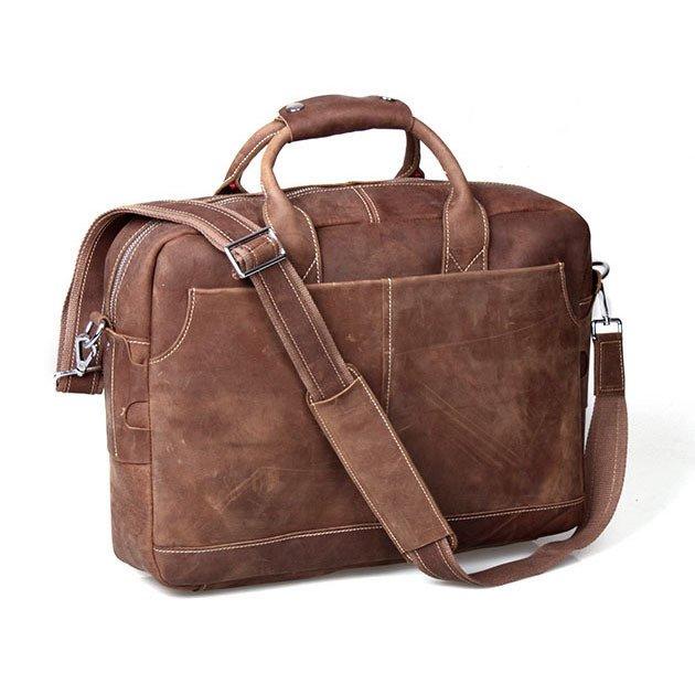"""Vintage Men's Crazy Horse Leather Handbag Briefcase Messenger Bag 16"""" Laptop Mackbook Case"""