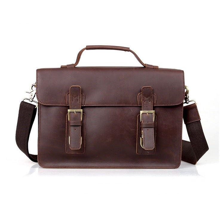 British Vintage Crazy Horse Leather Men's Briefcase Shoulder Bag Laptop Multi-use Tote Freeshipping