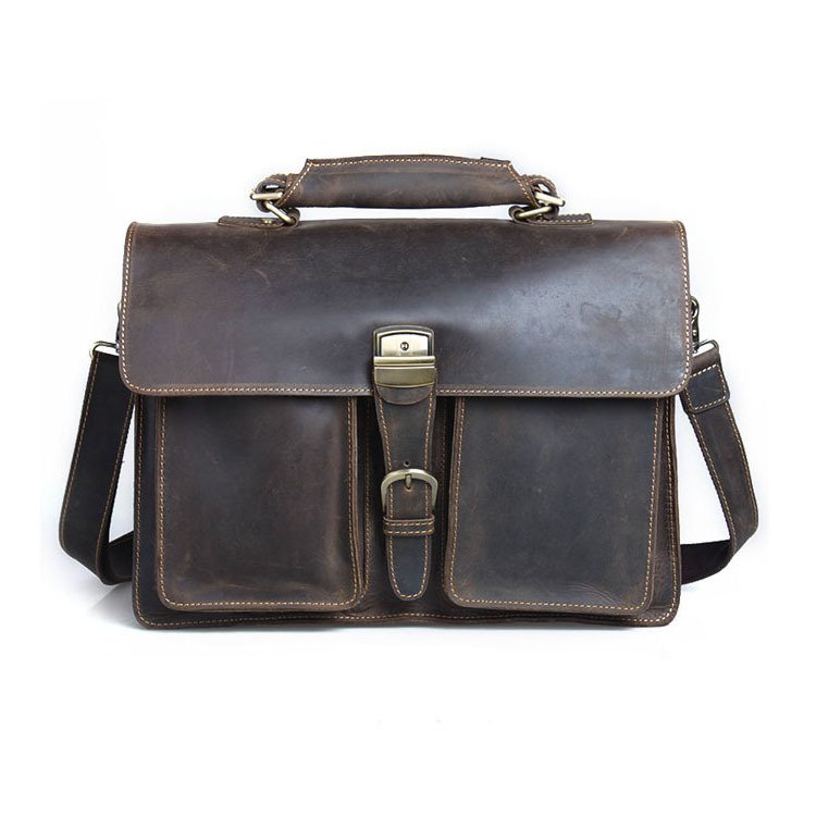 "Top Grade Thick Crazy Horse Leather Men's Large Volume Briefcase 16"" Laptop Bag Travel Baggage"