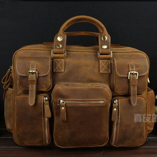 Best Gift Crazy Horse Leather Briefcase Laptop Bag Dispatch Shoulder Huge Duffle Brown Yellow