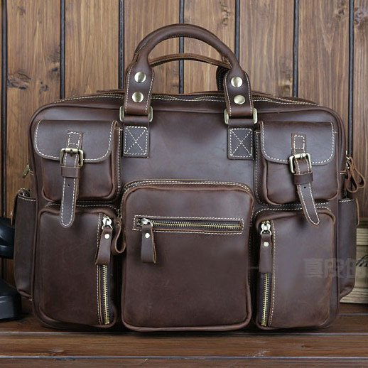 Best Gift Crazy Horse Leather Briefcase Laptop Bag Dispatch Shoulder Huge Duffle Brown Coffee
