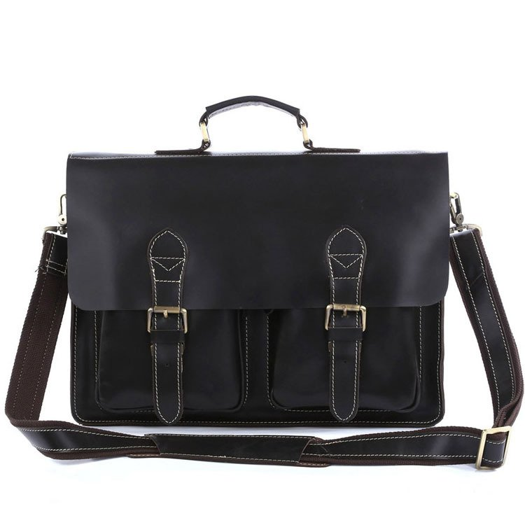 "Handmade Cowhide Genuine Leather Briefcase Messenger Shoulder Bag 14"" 15"" Laptop 13"" 15"" MacBook Bag"
