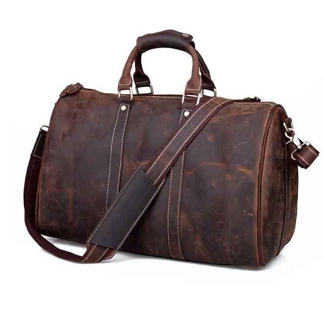 Handmade Crazy Horse Leather Dark Brown Large Luggage Travel Bag Duffle Bag Adjustable Strap