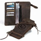 Handmade Antique Crazy Horse Leather Wallet Vintage Tiger Totem Pattern-new