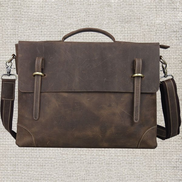 Present for the Loved Crazy Horse Leather Mens Briefcase Mssenger Bag Handmade in Brown