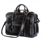 "Black Polishing Cowhide Leather Men's Briefcase Messenger Bag 16"" Laptop Macbook Ipad Bag Case"