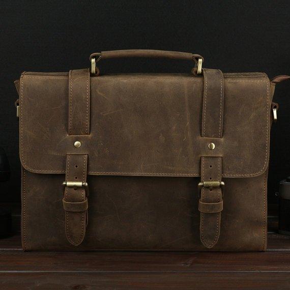 Handmade Leather Briefcase Messenger Bag For Men Superior Crazy Horse Leather iPad Case