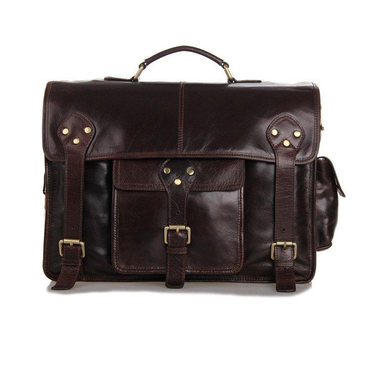 Vintage Genuine Leather Men's Coffee Messenger Bag Handbag Business Bag Macbook Bag - K72-00