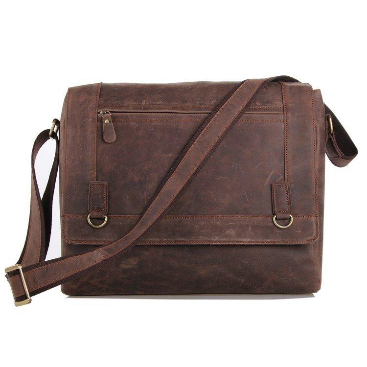 Distressed Crazy Horse Leather Men's Briefcase Shoulder Bag Messenger Bag Cross Body Bag-K72-08