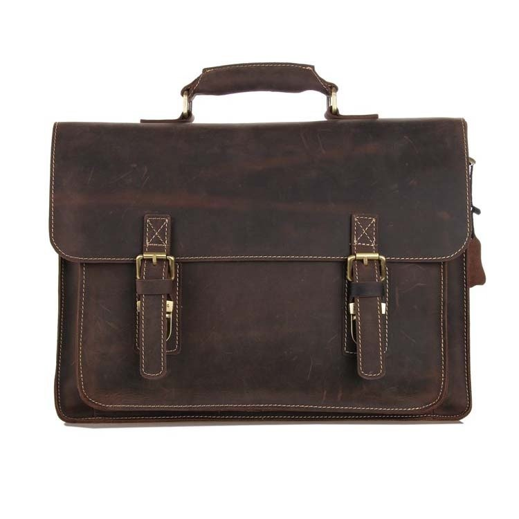 Distressed Leather Men's Shoulder Computer Bag Messenger Bag Cross Body Tote Briefcase - K72-05