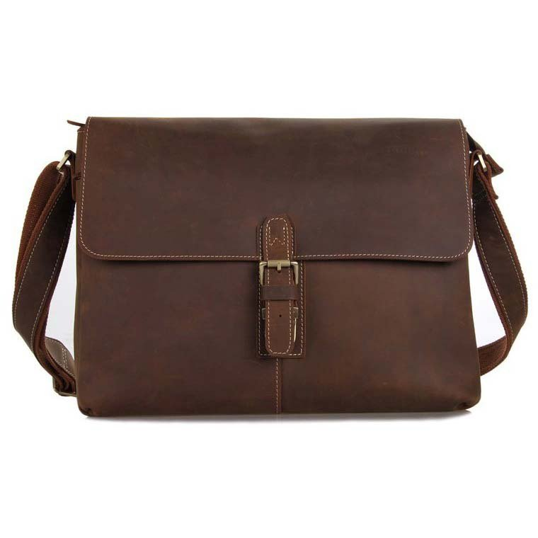 Top Grade Wedding Gift Crazy Horse Leather Briefcase Messenger Bag iPad Laptop Bag - K70lb-84