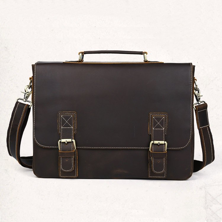 """Handmade Vintage Distressed Leather Messenger Briefcase 14""""15"""" Laptop Macbook Case--FREE SHIPPING"""