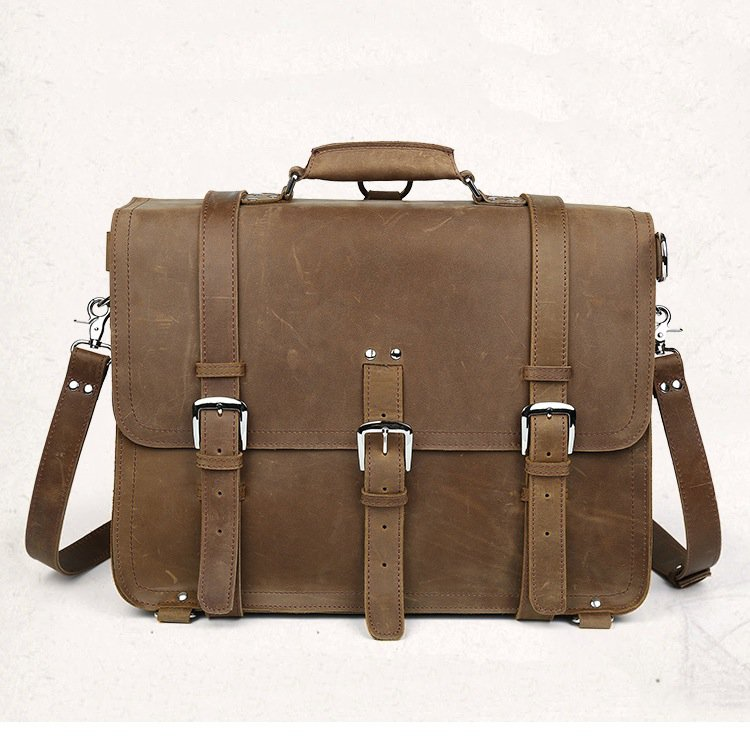LARGE Distressed Leather Briefcase Handbag/Backpack/Travel/Laptop Bag--FREE SHIPPING