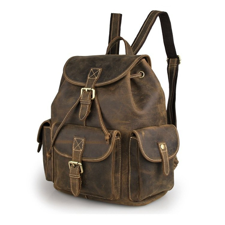 Top Grade Crazy Horse Leather Men's Travel Backpack Bag Coffee Color New Arrival--FREE SHIPPING