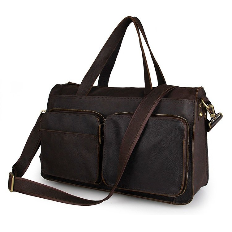 Men's Travel Bag Genuine Vintage Cow Leather Dark Brown Durable Handbags--FREE SHIPPING