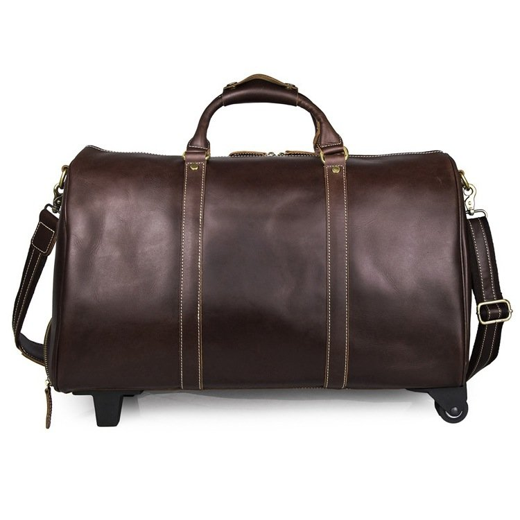Genuine Leather Trolley Case Multi-purpose Luggage Bag Travel Tote Bag--FREE SHIPPING