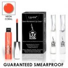 LIP INK Natural Vegan Smearproof  Neon Coral Lip Stain LipGel Kit + Off & Shine