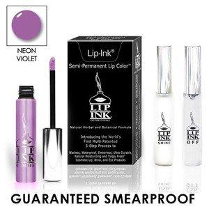 LIP INK Natural Vegan Smearproof Neon Violet Lip Stain LipGel Kit + Off & Shine