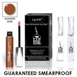 LIP INK Natural Vegan Smearproof Almond Star Lip Stain LipGel Kit + Off & Shine