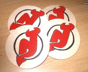 New Jersey Devils Handpainted Wooden Coasters-set of 4