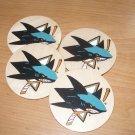 San Jose Sharks Handpainted Wooden Coasters-set of 4